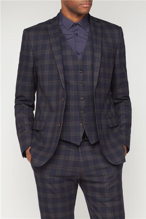 Ben Sherman Navy Caramel Check Slim Fit Suit