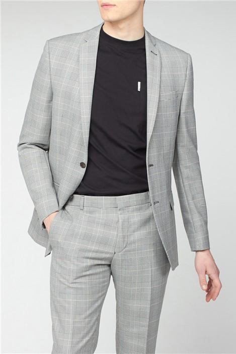 Ben Sherman Grey Pink Prince of Wales Check Slim Fit Suit