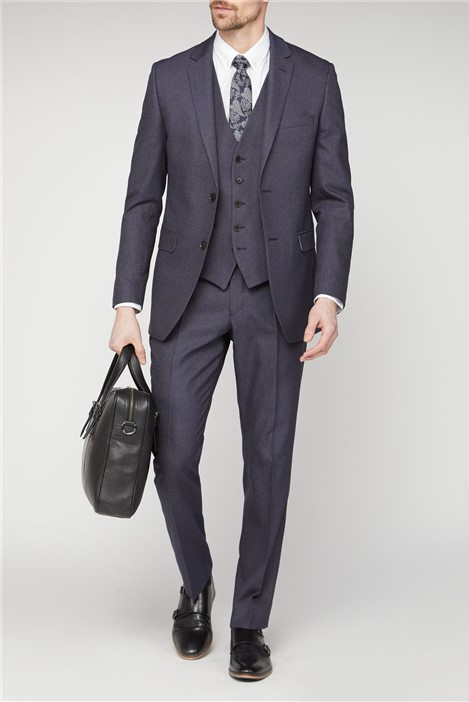 Scott & Taylor Navy Texture Regular Fit Suit