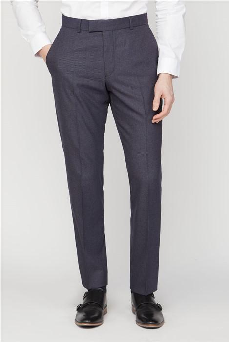 Scott & Taylor Navy Texture Regular Fit Suit Trousers