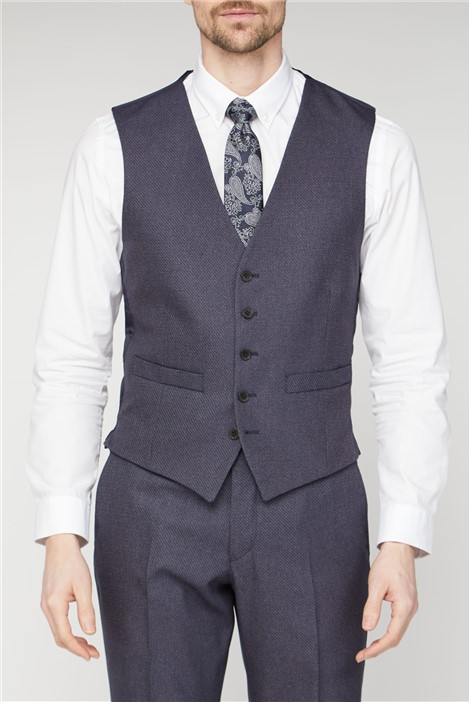 Scott & Taylor Navy Texture Regular Fit Waistcoat