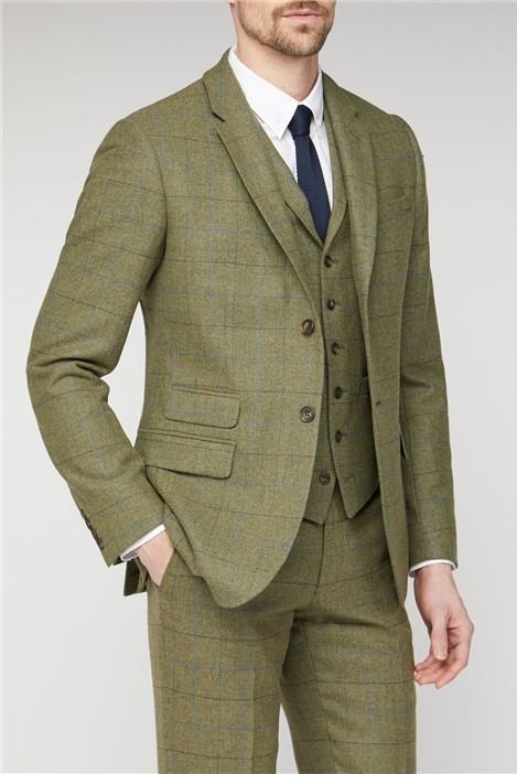 Racing Green Green Heritage Check Tailored Fit Suit