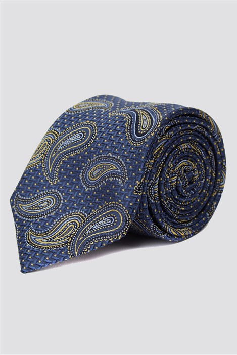 Stvdio by Jeff Banks Navy & Gold Textured Paisley Tie