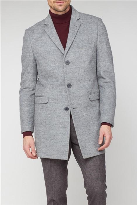 Ben Sherman Grey 3 Button Crombie Overcoat