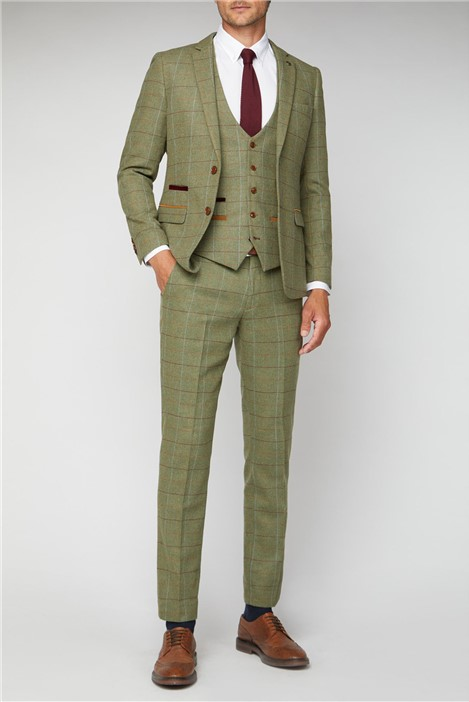 Marc Darcy Ellis Moss Green Check Suit