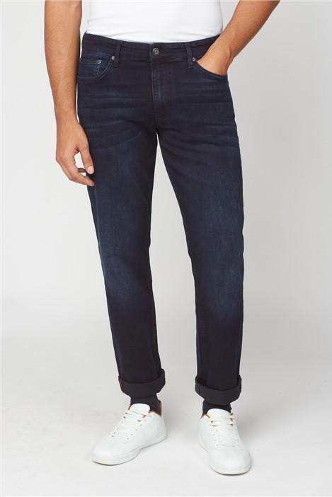 Ben Sherman Blue Black Denim Straight Jean