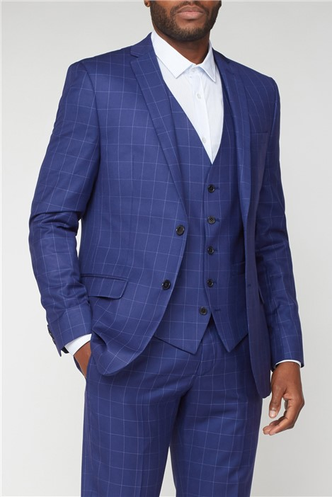 Limehaus Blue Windowpane Checked Suit