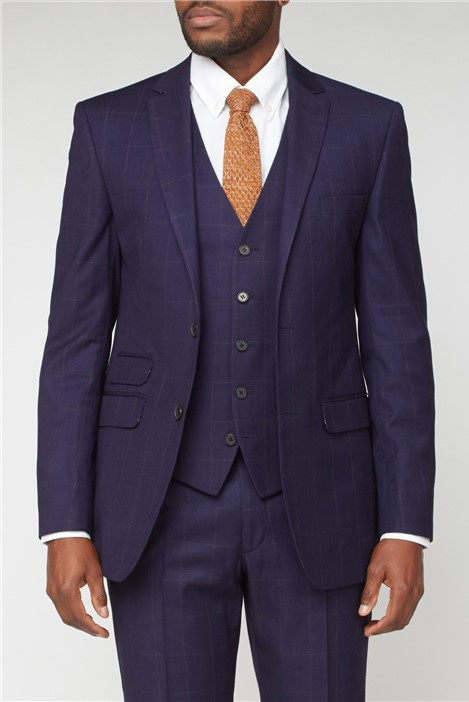 Scott & Taylor Navy & Rust Brown Checked Suit