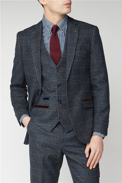Marc Darcy Luca Navy Check Tweed Suit