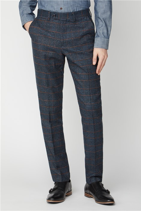 Marc Darcy Luca Navy Check Tweed Trousers