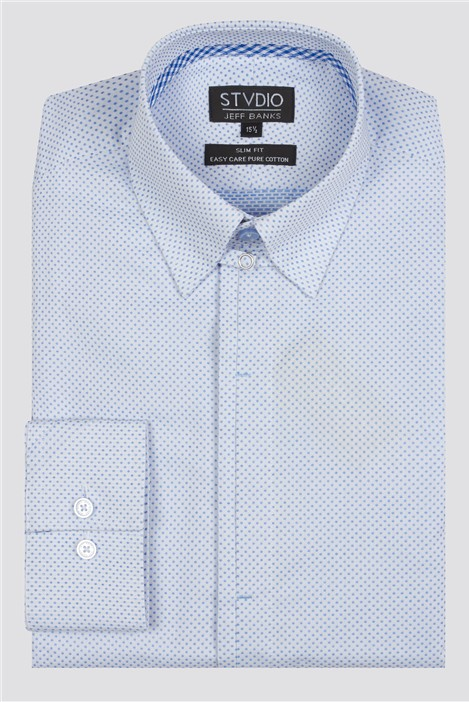 Jeff Banks Stvdio White Spot Dobby Formal Shirt