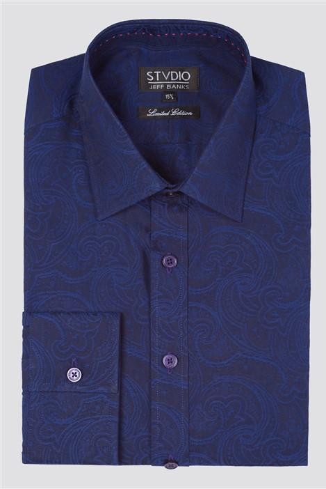 Jeff Banks Stvdio Paisley Jacquard Formal Shirt