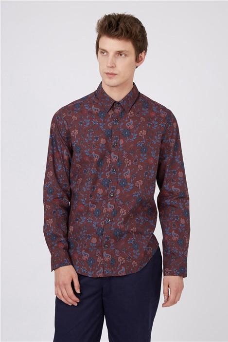 Ben Sherman Retro Bordeaux Floral Shirt