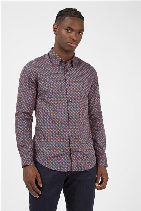 Ben Sherman Retro '70s Caramel Geometric Print Shirt