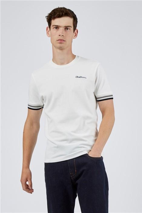 Ben Sherman White Pique Ringer T-Shirt