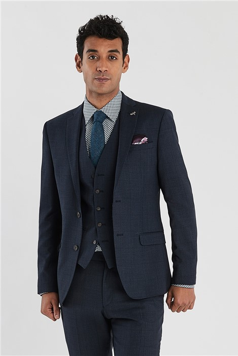 Ted Baker Navy Checked Slim Fit Suit