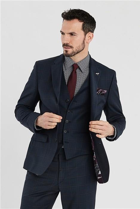 Ted Baker Navy Brushed Check Regular Fit Suit Jacket