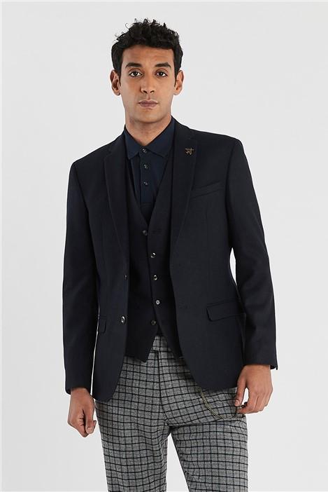 Ted Baker Navy Tweed Slim Fit Jacket