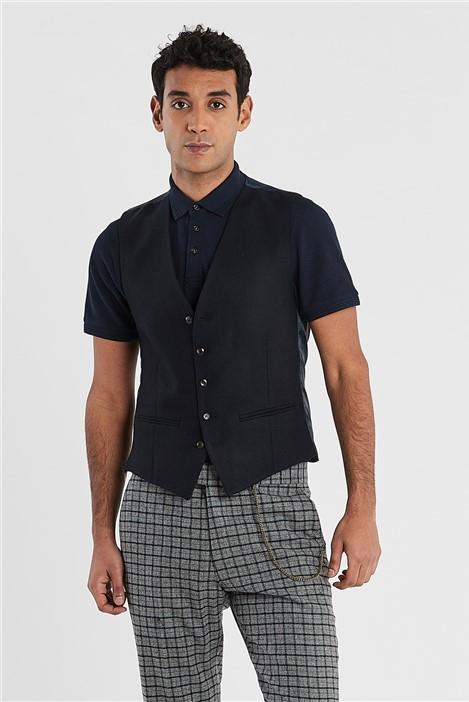 Ted Baker Navy Tweed Slim Fit Waistcoat