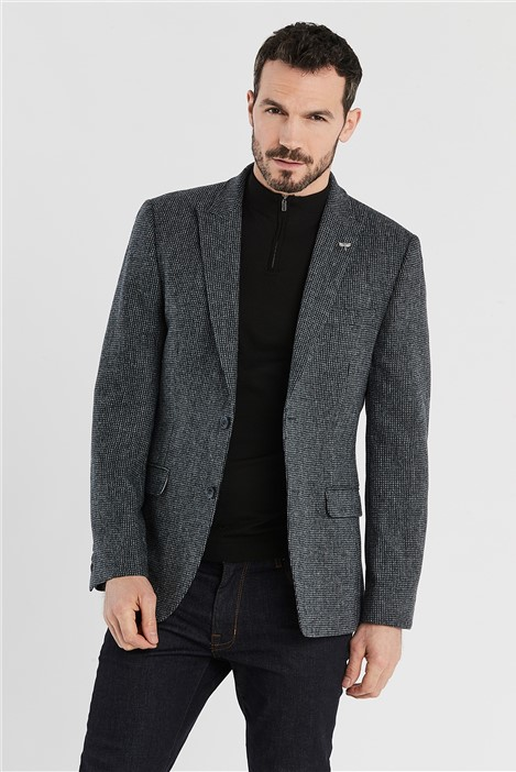 Ted Baker Charcoal Micro Check Regular Fit Jacket