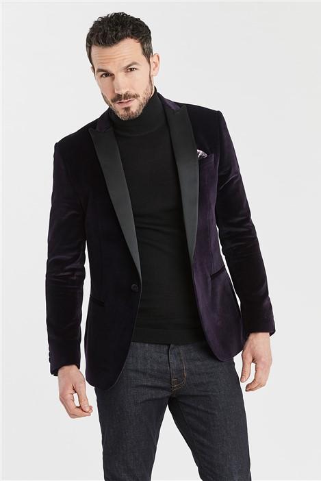 Ted Baker Deep Berry Slim Fit Velvet Jacket