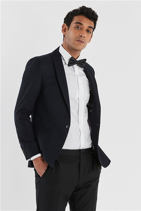 Ted Baker Navy Slim Fit Jacket with Flock Lapel
