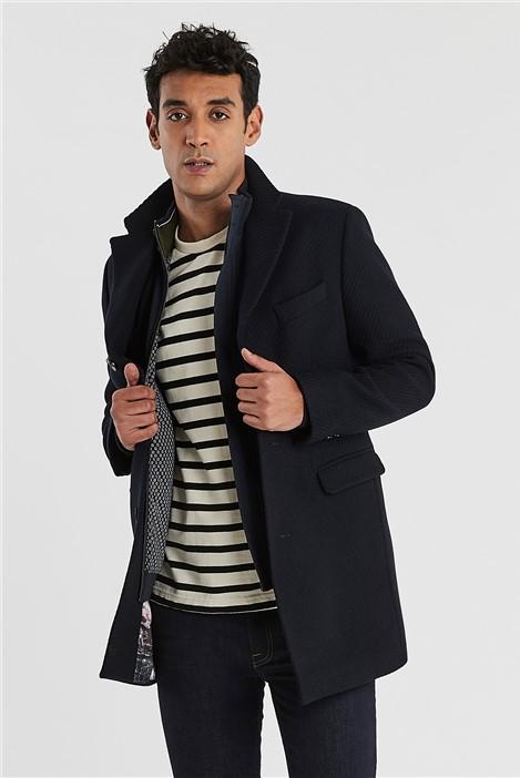 Ted Baker Navy Twill Slim Fit Overcoat