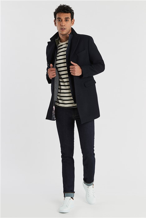 Ted Baker Navy Twill Slim Fit Overcoat