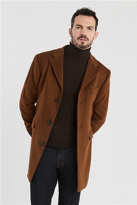 Ted Baker Tan Melton Slim Fit Overcoat