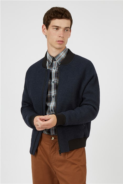 Ben Sherman Boiled Wool Quilted Bomber Jacket