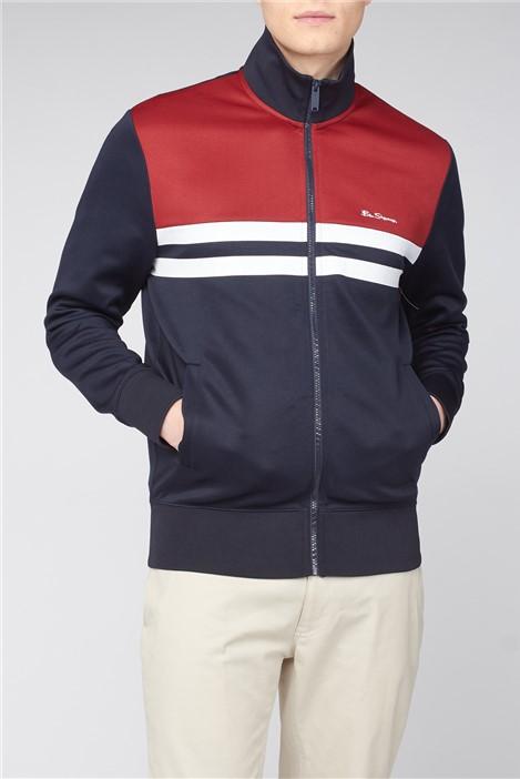 Ben Sherman Red Navy Colour Block Tricot Jacket