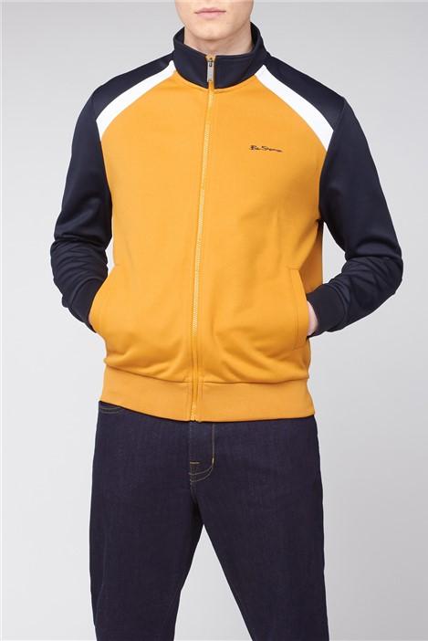 Ben Sherman Mustard Yellow Navy Tricot Zip Through Jacket
