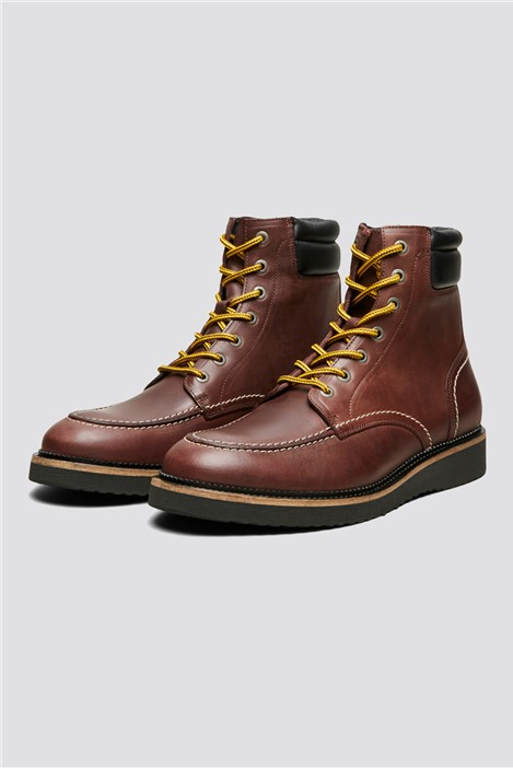 Selected Homme Lace Up Boot in Brown Leather