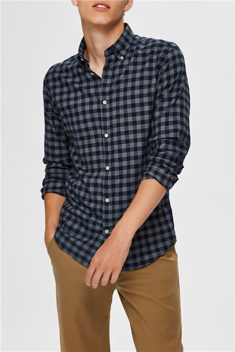 Selected Homme Navy Flannel Shirt