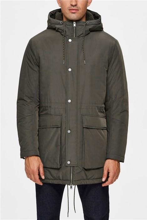 Selected Homme Leo Parka Jacket in Khaki