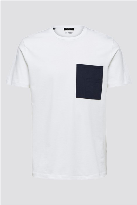 Selected Homme Goodwin Pocket T-Shirt in White