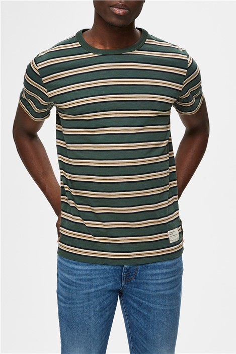 Selected Homme Striped T-Shirt in Green
