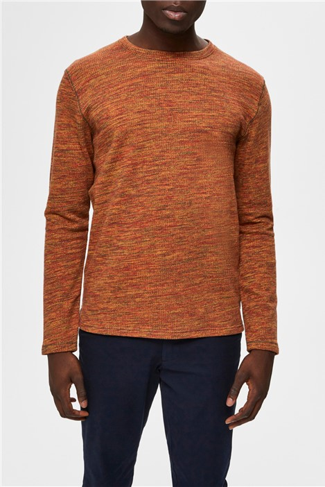 Selected Homme Jay Crew Neck Sweater in Orange
