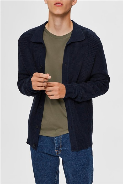 Selected Homme Darrel Button Cardigan in Navy
