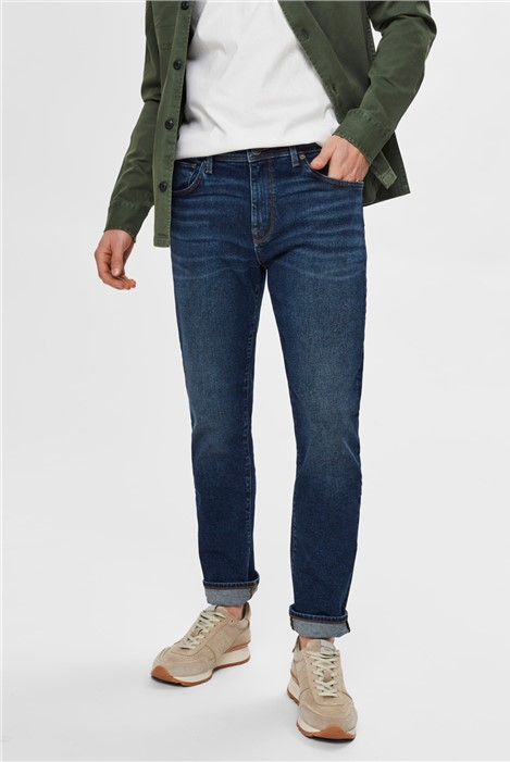 Selected Homme Leon slim Fit Jeans in Light Blue Wash