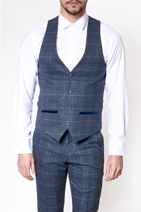Marc Darcy Scott Blue Tailored Fit Waistcoat