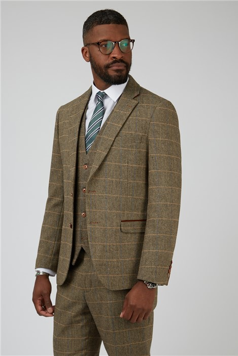 Marc Darcy Ted Tan Check Tailored Fit Suit Jacket