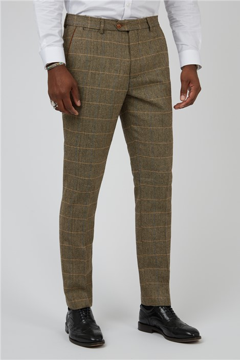 Marc Darcy Ted Tan Check Tailored Fit Suit Trousers