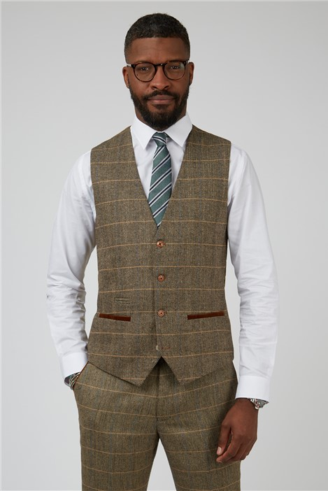 Marc Darcy Ted Tan Check Tailored Fit Suit Waistcoat