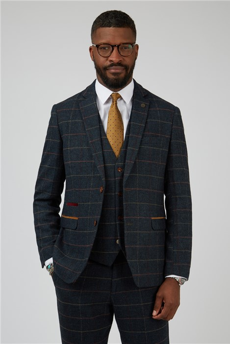 Marc Darcy Eton Navy Check Tailored Fit Suit Jacket