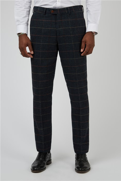 Marc Darcy Eton Navy Check Tailored Fit Suit Trouser