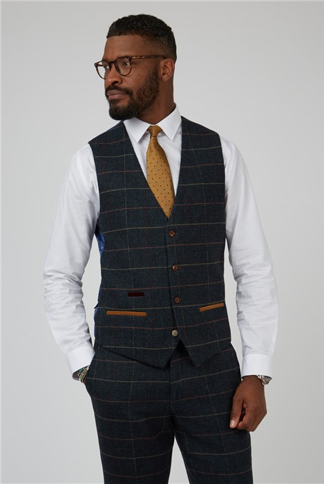 Marc Darcy Eton Navy Check Tailored Fit Waistcoat