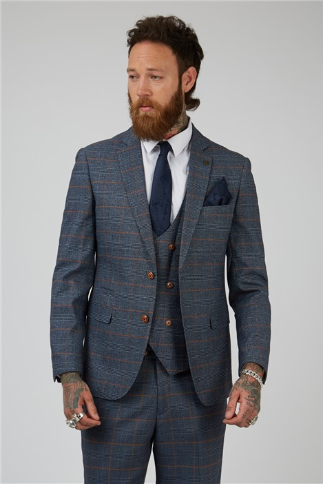 Marc Darcy Jenson Blue Check Tailored Fit Suit Jacket