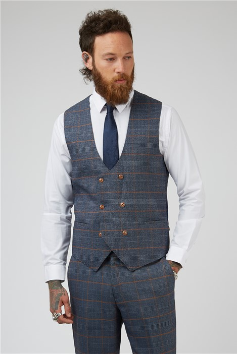 Marc Darcy Jenson Blue Check Tailored Fit Suit Waistcoat