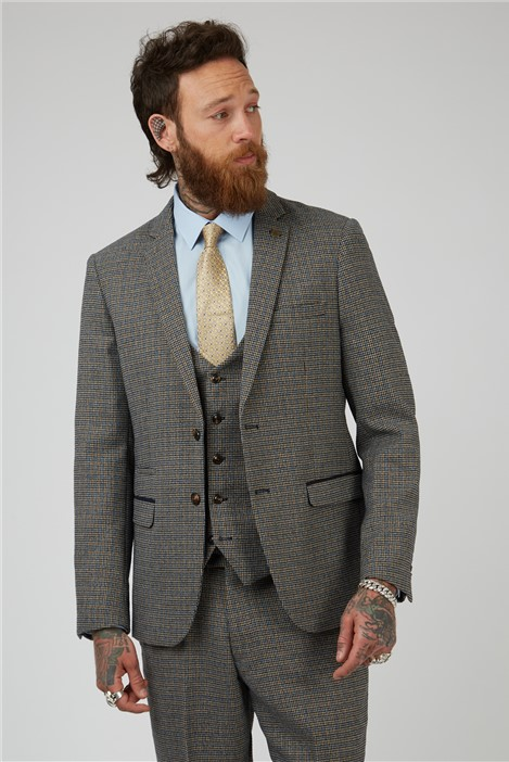 Marc Darcy Hardwick Tan Navy Check Tailored Fit Suit Jacket